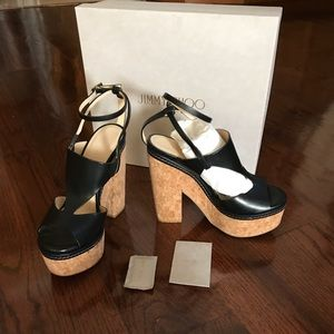 Jimmy Choo Noble 120 Black With Cork Wedge Sz 38